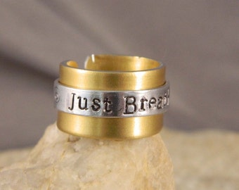 Just Breathe Riveted Aluminum Ring