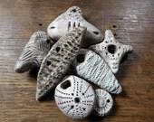 Artisan ceramic pendants - set of 7 amulets - SALE