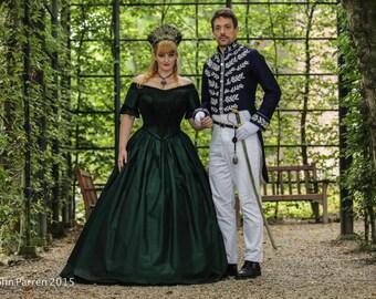 Verna Victorian custom Gothic wedding dress ball gown Fantasy Costume Green