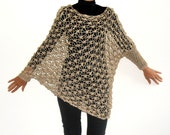LACE COVER UP Sweater with Assymetrical Sleeves Delicate Airy Wrap Hand-knit in Camel