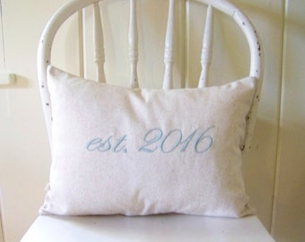 free shipping /established pillow/ est. / embroidered / personalized wedding pillow /wedding / engagement/ anniversary / personalized