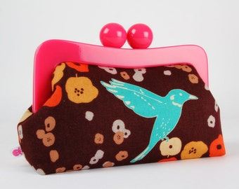 Resin frame clutch bag - Birds on brown - Awesome purse / Hot pink frame / Echino japanese fabric / orange peach turquoise orchid brown