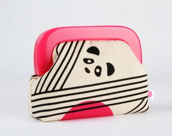 Little purse with resin frame - Pandas - Girly purse / Hot pink frame / Parallels / Ellen Luckett Baker / Black and white