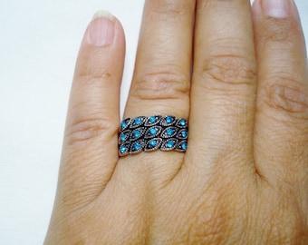 Silver Tone Turquoise Rhinestones Size # 8 Ring