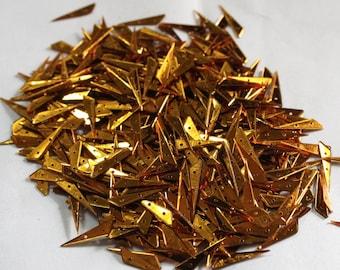 100 Golden Color Sequins/Triangle Shape / Metallic Shape/ KBTS619