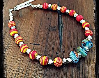 Red, Orange, and Blue Glass Beaded Bracelet