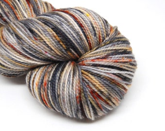 "Acoustic Sock Yarn - ""Cinder and Smoke"" - Handpainted Superwash Merino - 400 Yards"