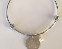 NCL Logo Adjustable Bangle Bracelet in Silver - National Charity League Jewelry