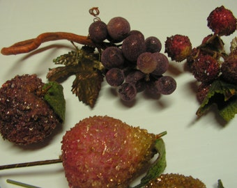Beaded Fruit for floral arrangement or centerpiece includes pears, apple, grapes and berries