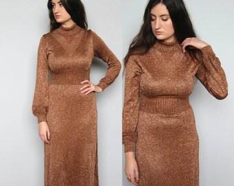 copper bombshell -- vintage 70s metallic knit long dress S/M