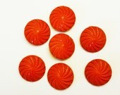Large Red Swirl Plastic Buttons - Vintage - Set of 7