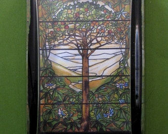 "Tiffany Stained Glass ""Tree of Life"" Window Large Rectangle Glass Paperweight Home Decor"