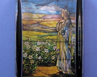 """Tiffany """"Field of Lilies"""" Favrile Stained Glass Window Large Rectangle Glass Paperweight Home Decor"""