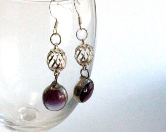 Stained Glass Jewelry Earrings - Amethyst Glass Drops