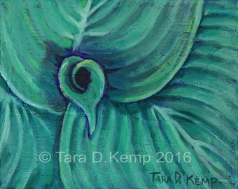 Hosta One - Original Acrylic Painting on Canvas 10 x 8""
