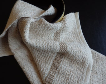 Handwoven Organic Cotton Hand Towel in Natural and Brown