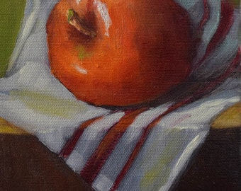 Red Apple And Cup Towel, Small Still Life Painting, Original Oil Painting On Stretched Canvas by Cheri Wollenberg