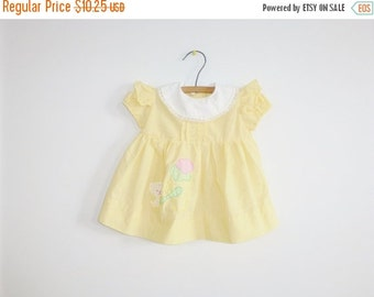 SALE // Vintage Yellow Baby Girls Dress