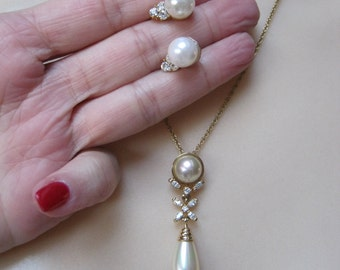 RESERVED pearl crystal drop necklace earrings set, bride's faux pearl crystal necklace clip earrings, wedding necklace earrings set
