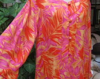 Vintage silky feel rayon tropical look lounge dress, coral and pink tones lounging gown, column shape tropical leaf pattern resort gown XS