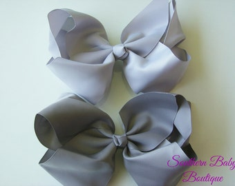 NEW ITEM---School Cheer Bow XX-Large 7 Inch Hair Bows---Dark Gray or Light Gray---Ready to Ship