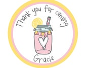 Birthday, Pink, Personalized Stickers, Lemonade, Gift, Polka dots, Holiday, Birthday,Kids, Party, Favor stickers,Personalized Sticker Labels