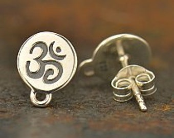 Sterling Silver Ohm Post Earrings with loop,  925 Silver Earring,  9.5mmx7.5mm x 1mm thick,