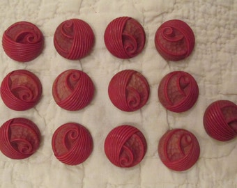 Vintage Buttons Red Lot of 13 SALE