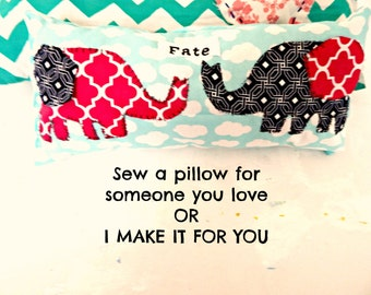 Elephants and Fate Valentines Day Pillow Sewing Kit 6X15 DIY Kit Make a Gift for Valentines Day