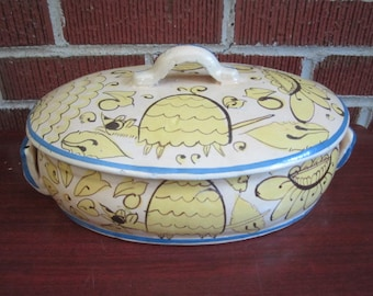 Vintage 1930s/40s  Mexican Tonala Tlaquepaque Pottery FANTASIA Covered Casserole