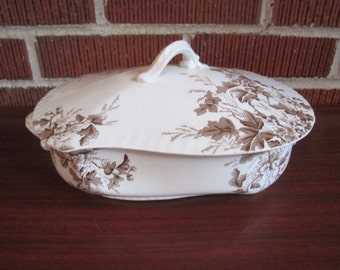 Antique Johnson Bros. COLUMBIA Brown Transferware Covered Vegetable Serving Bowl