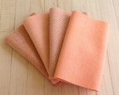 "Hand Dyed Wool Felt, APRICOT, Four 6.5"" x 16"" pieces in Soft Pastel Peach, Perfect for Rug Hooking, Applique' and Crafting"