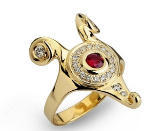 SALE 20% OFF - HATHOR Diamond Ruby Ring, Gold Ruby ring, Unique Engagement Ring, Egyptian Jewelry, Ruby Engagement Ring, Diamond Ring 14k Go