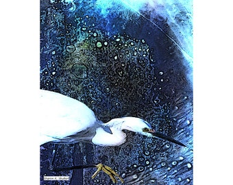 Egret Art, Citra Solv Design, Blue And White, Mixed Media Bird, Wildlife Wall Hanging, Textured Cabin or Home Decor, Giclee Print, 8 x 10