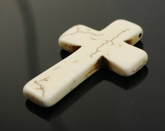 5 pcs Cross Pendant - IVORY Howlite Turquoise CROSS Pendant - 45x30mm 13/4x1.15inch 5.5mm thickness