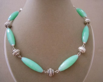 Tenerife Sea -- One of a Kind -- Aqua Jade Gemstone and Silver Accent Necklace