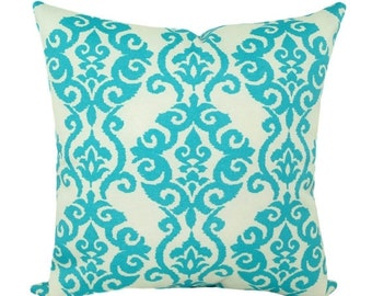 Sun N Shade Luminary Turquoise Decorative Damask Style Printed Outdoor Throw Pillow - Free Shipping