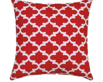 Red STUFFED Throw Pillow, Lipstick Red and White Pillow - Red Moroccan Print Accent Pillow - Red Decorative Throw Pillow - Free Ship