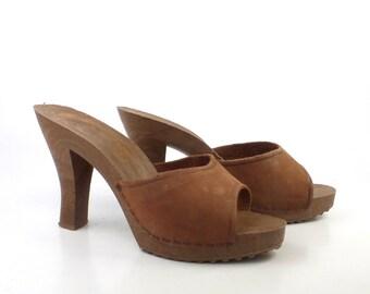 Plastic Heels Vintage 1970s Shoes  Brown High Heel Sandals size 8
