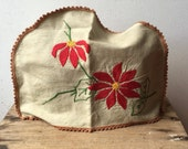 Vintage Toaster or appliance cover - embroidered with red flowers