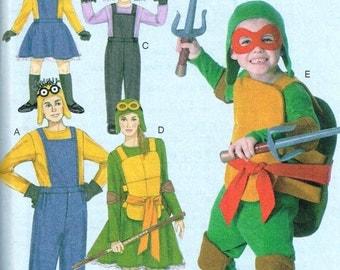 Boys Ninja Turtle, Minions, Halloween Costume Suit McCalls 7214 Sewing Pattern Size 3 4 5 6 7 8