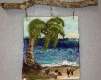 PALM TREE ~Needle Felt Wool Painting Tapestry Fiber Art Wall Hanging HANDMADE