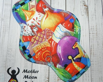 "OOAK 10"" Moderate Flow Reusable Cloth Menstrual Pad ~ Made with Holiday Ornaments Cotton, WINDPRO ~ by MotherMoonPads"