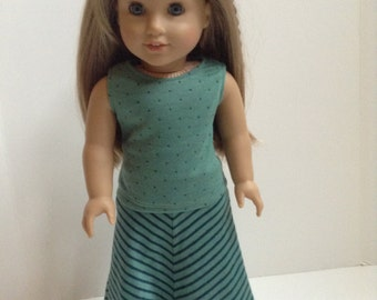 American Girl Doll Clothes - 2 Pc Green and Blue Maxi Outfit for 18 Inch Doll