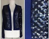 Vintage 1970s sequin top navy blue knit jacket