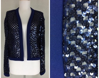 Vintage 1970s sequin top navy blue knit jacket