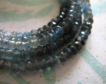 Shop Sale.. MOSS AQUAMARINE Rondelles, Luxe AA, Faceted, 1/4 Strand, 4-4.5 mm, march birthstone brides bridal