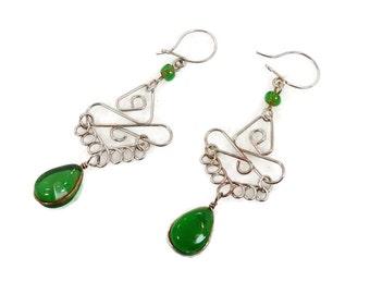 Green Earrings, Peruvian, Gypsy Earrings, Silver Green, Vintage Earrings, Ethnic Jewelry, Boho, Long Dangles, Peru, Hippie, Statement