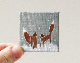 winter  / MINIATURE painting on canvas panel