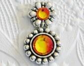 Daisy Totem Bindi Silver and Fire Opal Orange Swarovski Crystal